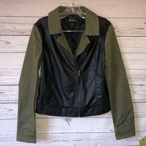 ELLA MOSS • Military Faux Leather Moto Jacket